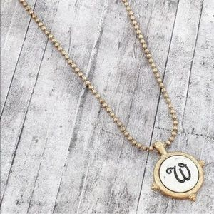 Jewelry - Worn Two-Tone Monogram Initial Letter 'W' Necklace